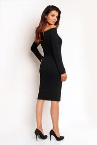 Black Off Shoulder Fitted Knee Lenght Dress