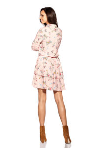 Pretty Flowered Mini Dress With Collar
