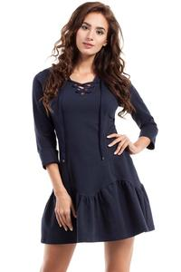 Dark Blue Lace-up Neckline Dress