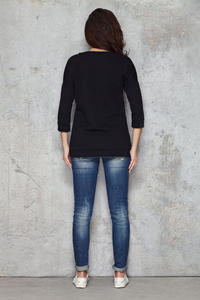 Black Flecked Sweatshirt with Shadowy Heart Front and 3/4 Sleeves