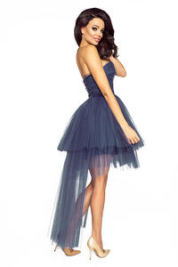 Dark Blue Bandeau Prom Tulle Dress
