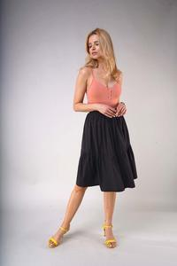 Black Flared Midi Skirt with a Frill