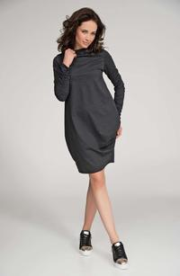 Dark Grey Long Sleeved Casual Dress