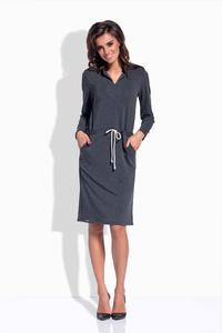 Dark Grey Shirt Collar Casual Midi Dress