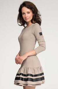 Cappuccino Mini Frilled Hem Dress