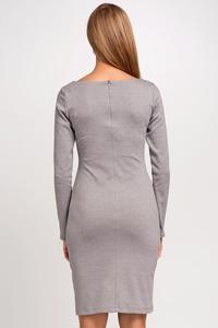 Grey Classic Plain Long Sleeves Dress