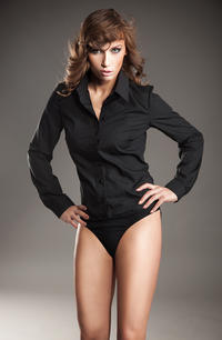 Collared Black Shirt Bodysuit with Front Button Fastening
