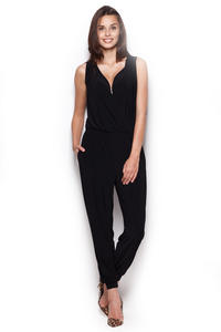 Wrap Around Sleeveless Black Jumpsuit with Shirred Waist