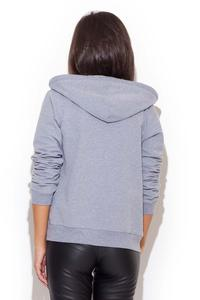 Grey Zipper Closure Hooded Jumper