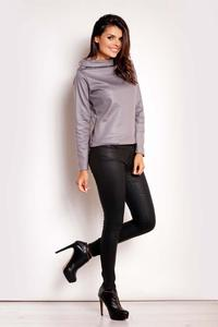 Grey Shiny Fabric Tourtleneck Blouse