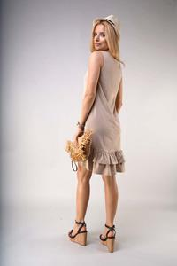 Loose Sleeveless Dress with Frills - Beige