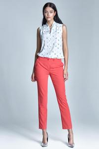 Coral Red Office Style Cigarette Trousers