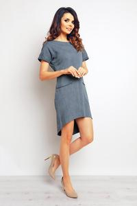 Dark Grey Dipped Hem Dress with Pockets