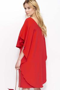 Red Knee Length Dress with Cape Frill