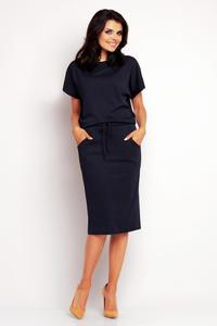 Dark Blue Midi Dress with Side Pockets