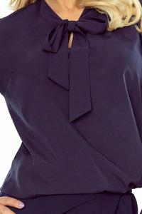 Dark Blue Elegant Blouse with Self Tie Bow