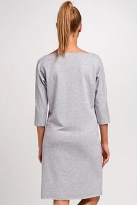 Grey Simple Little Boat Neckline Dress