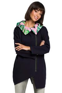 Navy Blue Jacket With Flowered Hoodie
