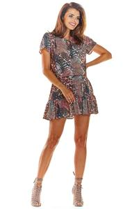 Brown Airy Patterned Dress with Tie