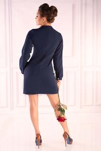 Navy Blue Formal Dress with Lace Neck