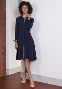 Navy Blue Midi Shirtdress With Collar