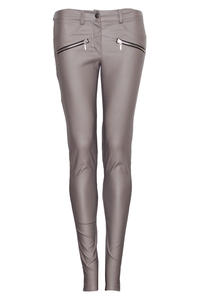 Beige Faux Leather Stretch Skinny Pants with Slant Zipper Pockets