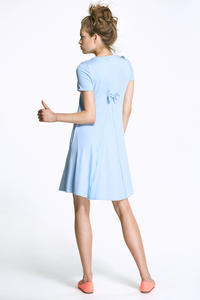 Sky Blue Flared Mini Dress with Bow at The Back
