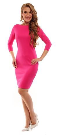 Fuchsia Classic Plain 3/4 Sleeves Dress