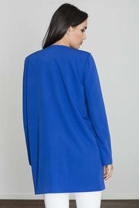 Blue Round Neckline Open Ladies Blazer