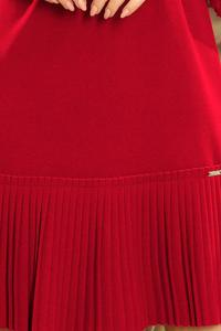 Burgundy Formal Dress with Pleated Frills