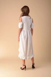 Envelope Dress with Cut-Out Shoulders - Dots