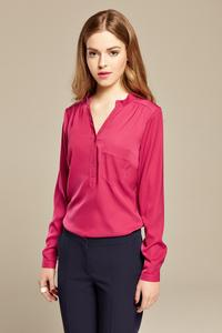 Fuchsia Long Sleeves V-Neck Shirt