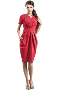 Red Wrinkled Slim Waist Knee Length Dress