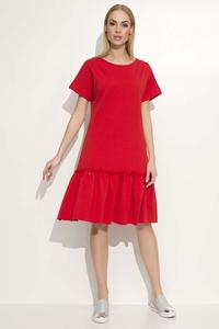Red Loose Cut Dress with a Frill