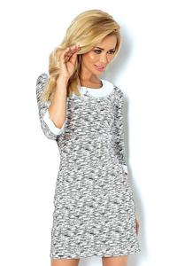 Grey&White Mini Dress with White Collar