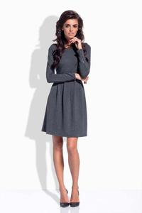 Dark Grey Round Neckline Flared Dress with Zipps