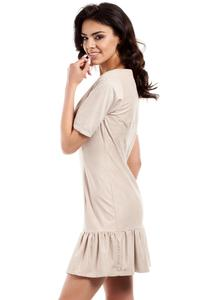 Beige Suede Imitation Dress with Frill