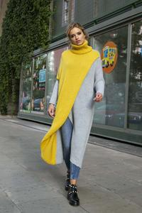 Yellow and Grey Long Sweater With Turtleneck ... 00aa49813