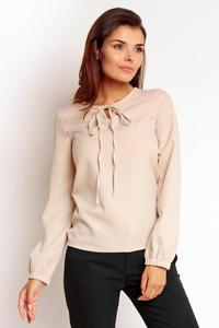 Beige Elegant Office Style Blouse with a Bow