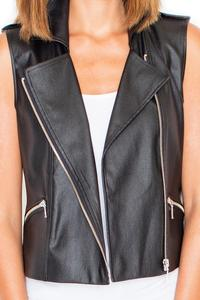 Black Asymetrical Zip Closure Vest Blouse