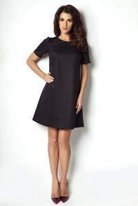 Black Flared Classic Short Sleeves Dress