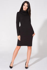 Black Casual Tourtleneck Dress