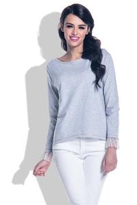 Grey Blouse with Long Sleeves with Tulle