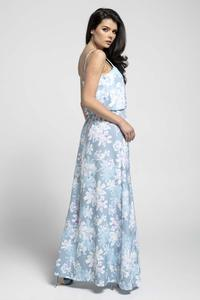 Blue Airy Maxi Dress on Thin Straps with a Slit