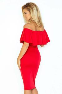 Red Bodycon Dress with Frilled Offshoulders Neckline