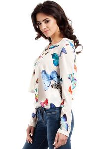 Ecru Butterfly Pattern Long Sleeves Blouse