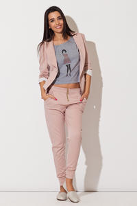 Pink Long Lapel Blazer with Contrast Cuffs