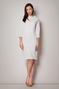 Off White High Neck Textured Shift Dress with 3/4 Sleeves