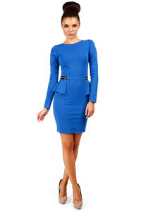 Blue Seam Shift Dress with Decorative Zipper Pockets