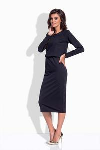 Black Elastic Waist Pencil Dress